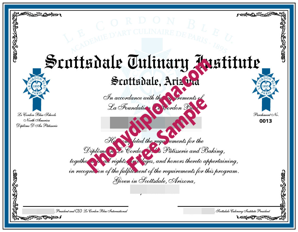 Scottsdale Culinary Institute Fake Diploma Sample From Phonydiploma