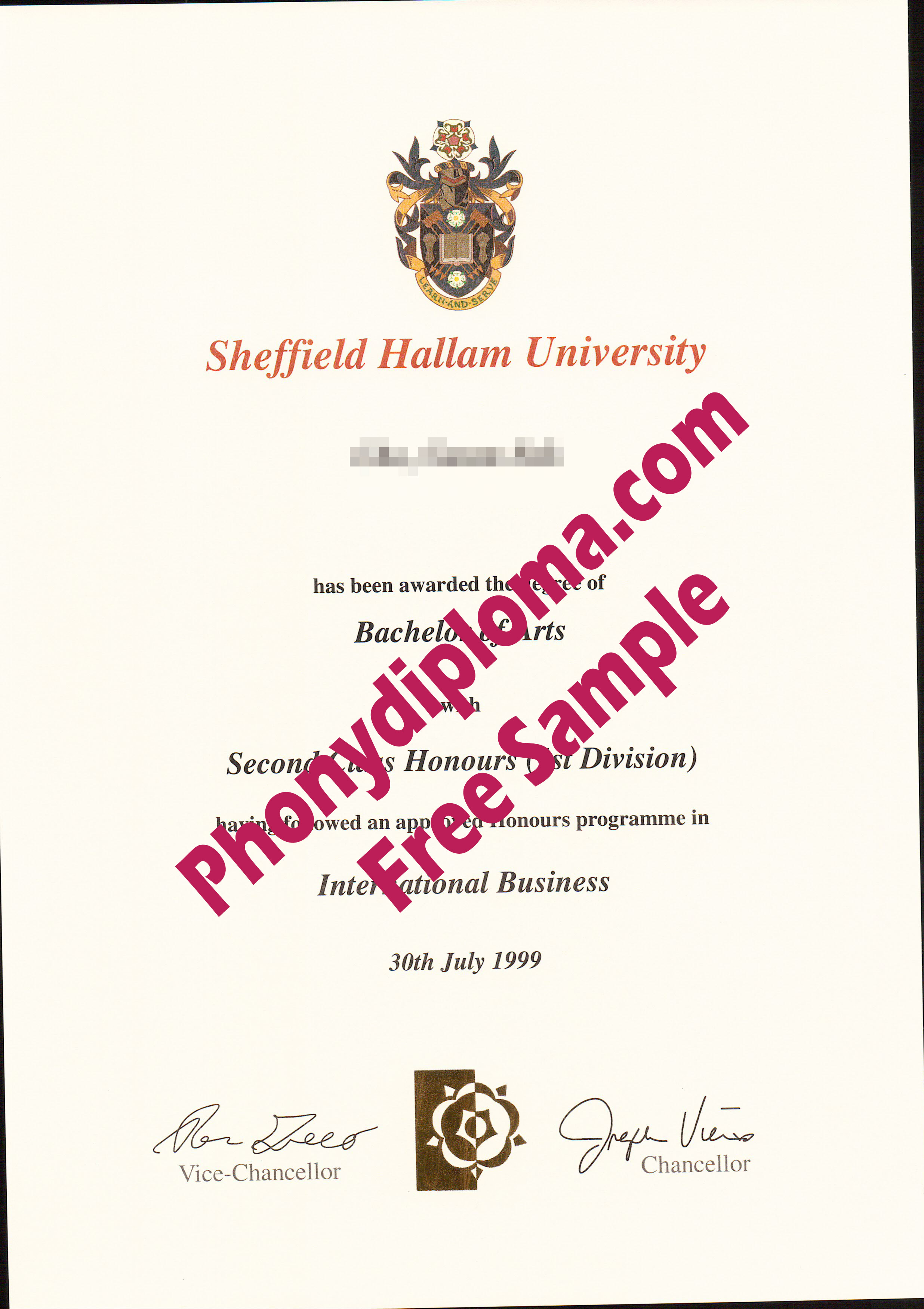 Sheffield Hallam University Free Sample From Phonydiploma