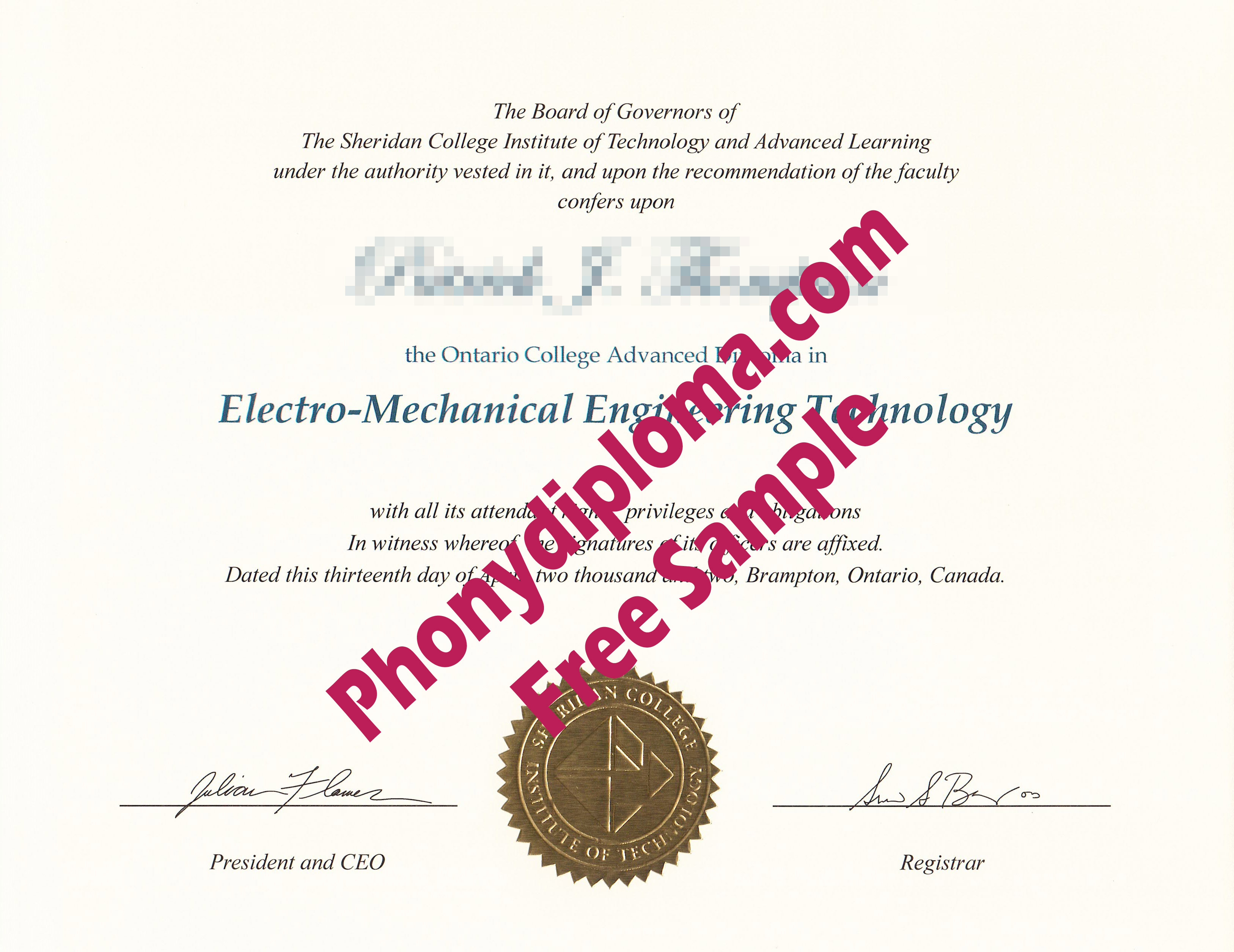 Sheridan College Institute Of Technhlogy Free Sample From Phonydiploma
