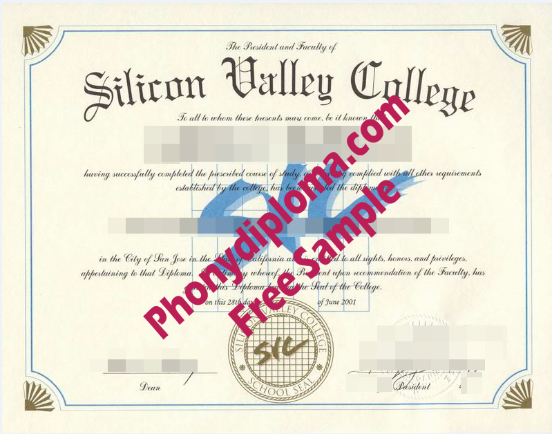 Silicon Valley College Diploma Free Sample From Phonydiploma