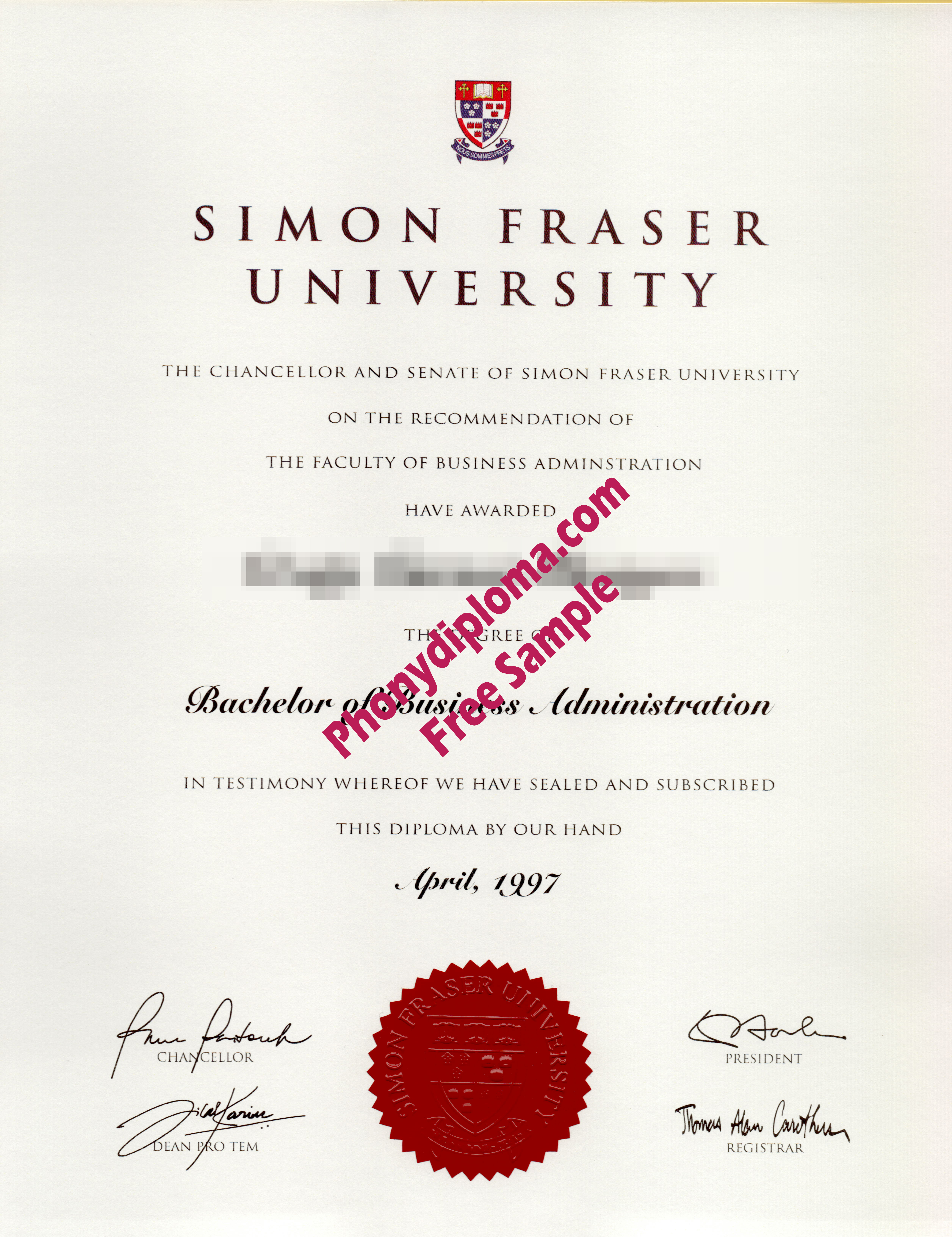Simon Fraser University Free Sample From Phonydiploma
