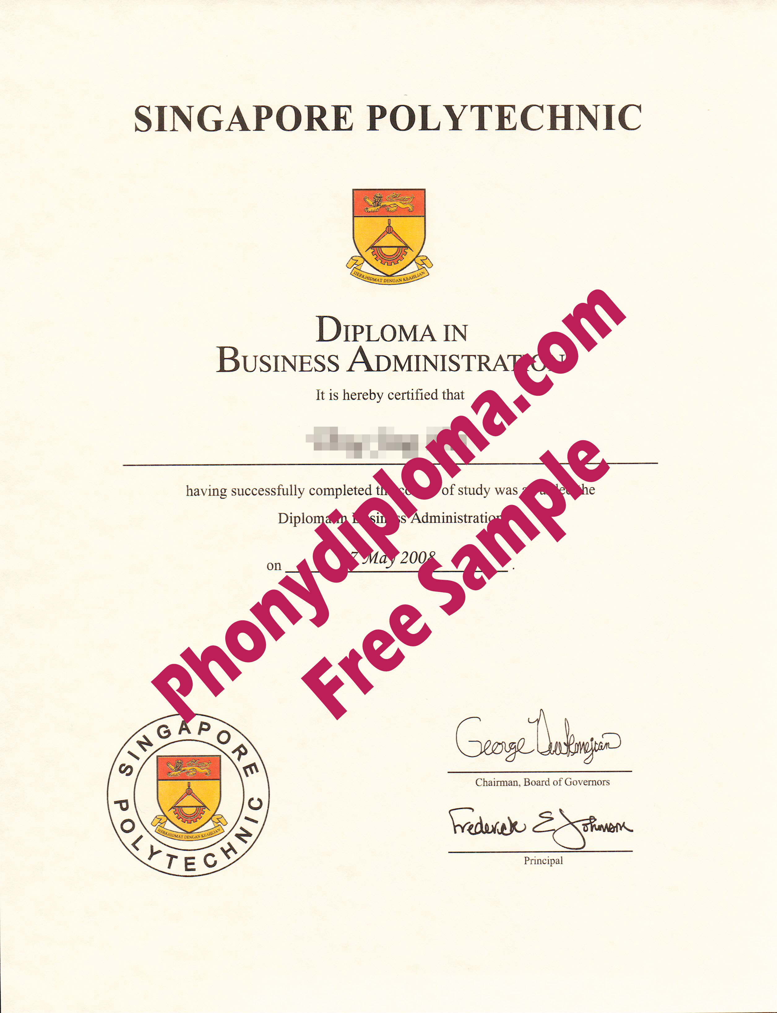 Singapore Polytechnic Diploma Free Sample From Phonydiploma