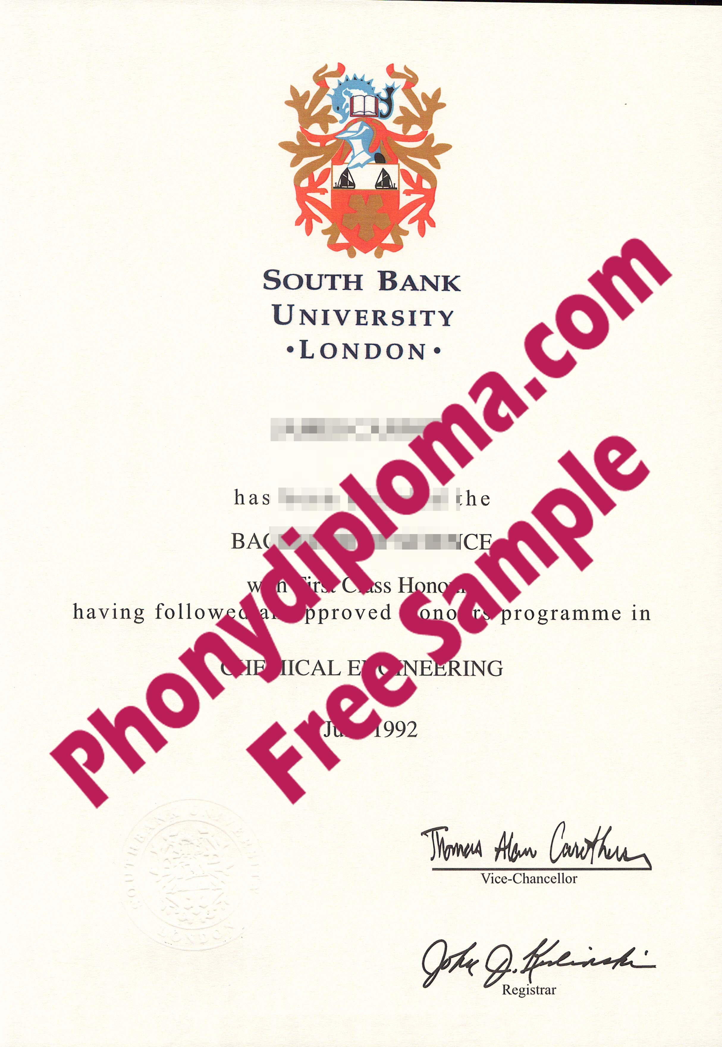 South Bank University London Free Sample From Phonydiploma