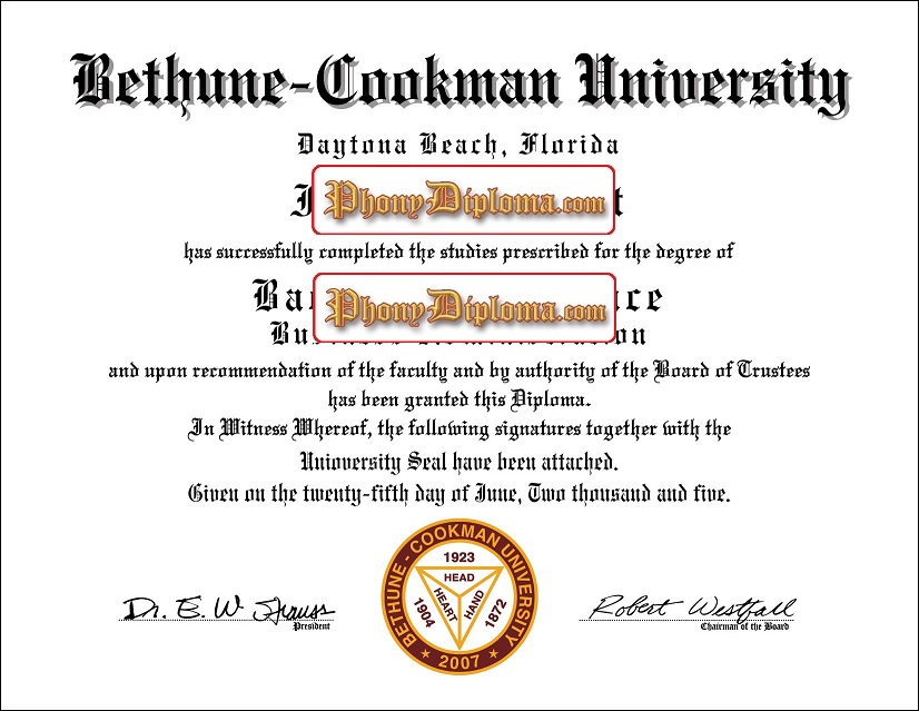Southeast Region Bethune Cookman University Or College Free Sample From Phonydiploma