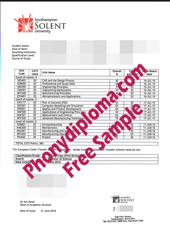 Southampton Solent University Actual Match Transcripts Free Sample From Phonydiploma
