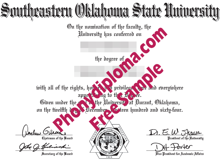 Southeastern Oklahoma State University Free Sample From Phonydiploma