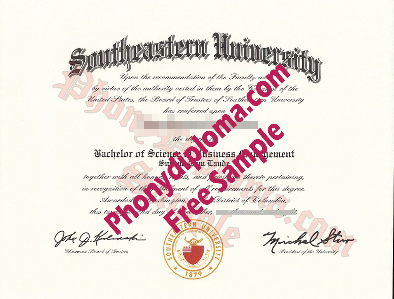Southeastern University District Of Columbia Dc Free Sample From Phonydiploma