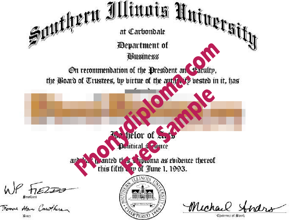 Southern Illinois Diploma Free Sample From Phonydiploma