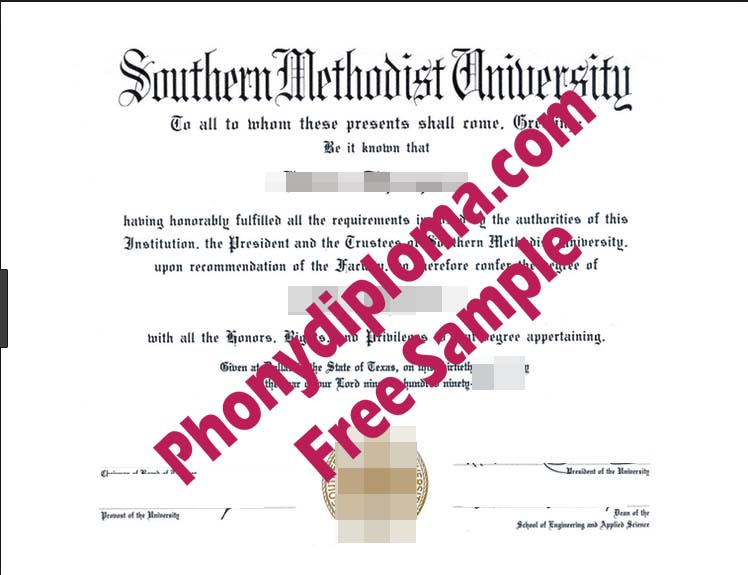 Southern Methodist University Free Sample From Phonydiploma