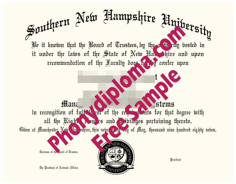 Southern New Hampshire Free Sample From Phonydiploma