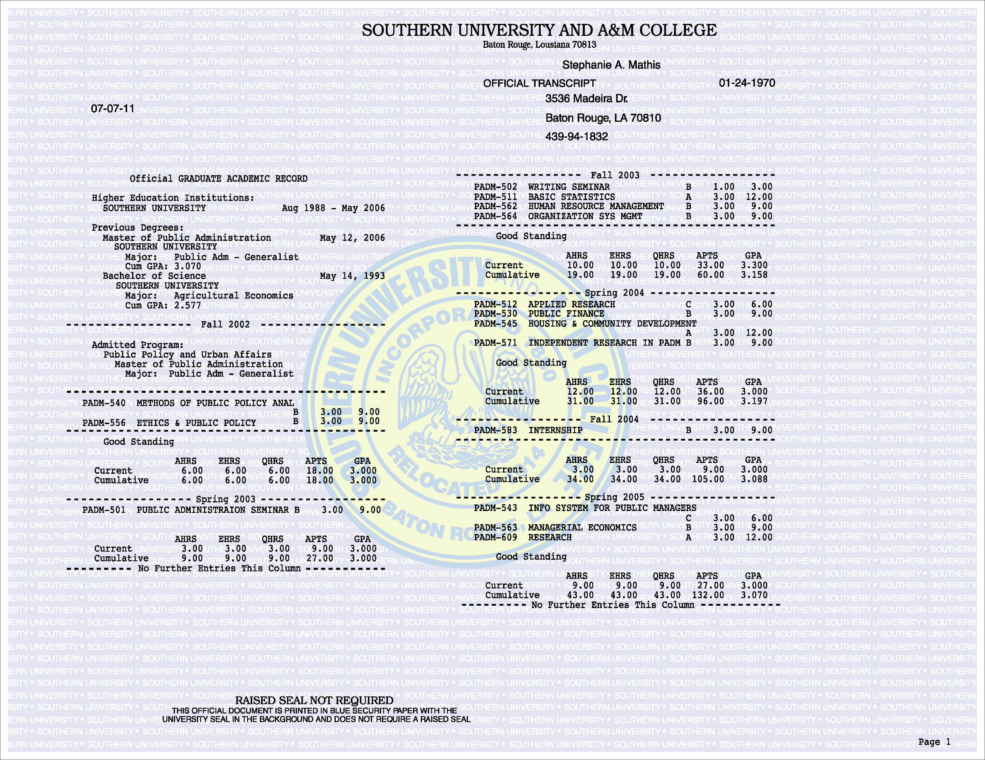 Southern University And A&M College Actual Match Transcript Free Sample From Phonydiploma