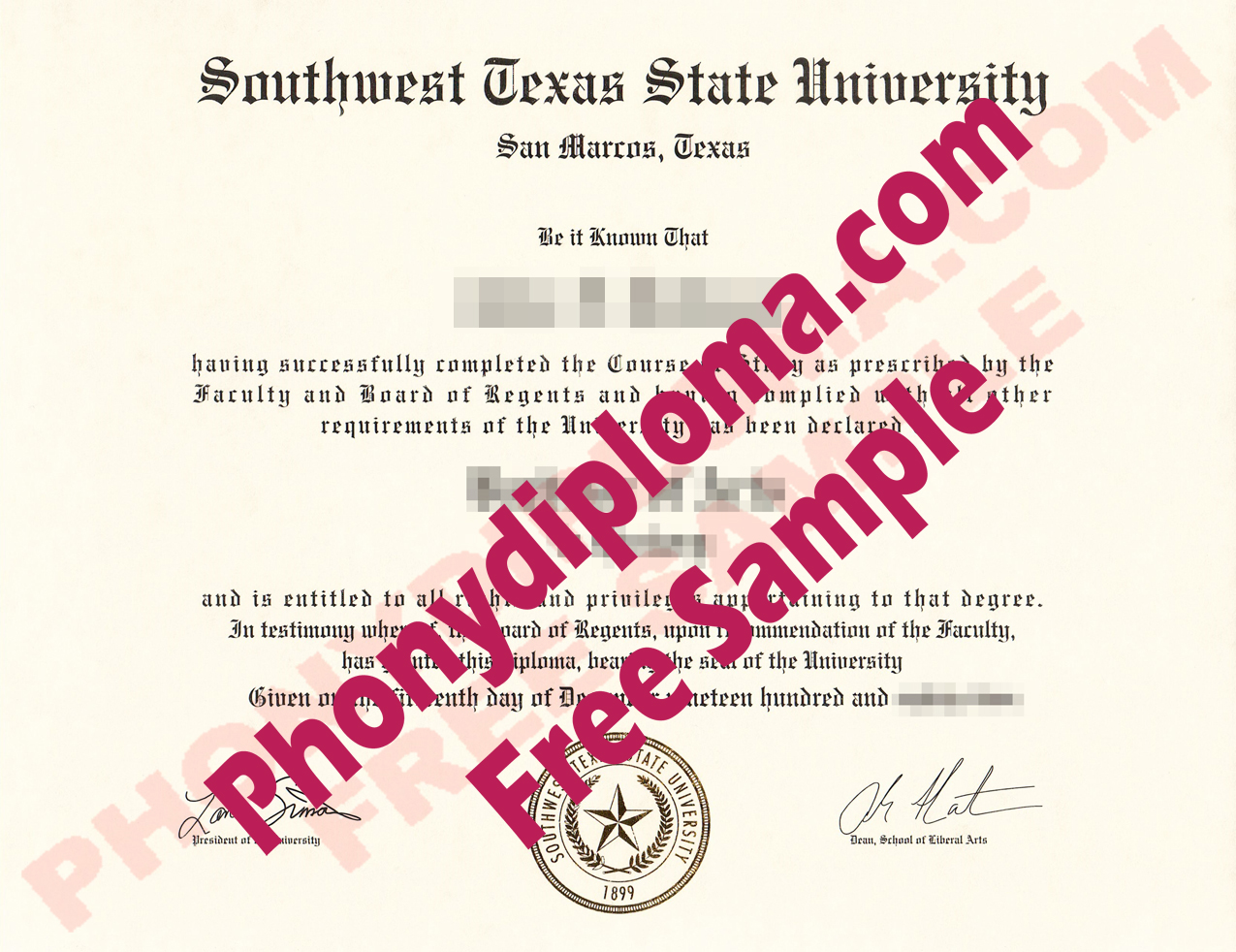 Southwest Texas State University Free Sample From Phonydiploma (2)