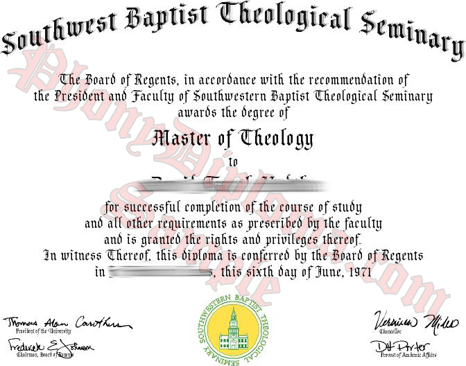 Southwestern  Baptist Theological Seminary Free Sample From Phonydiploma