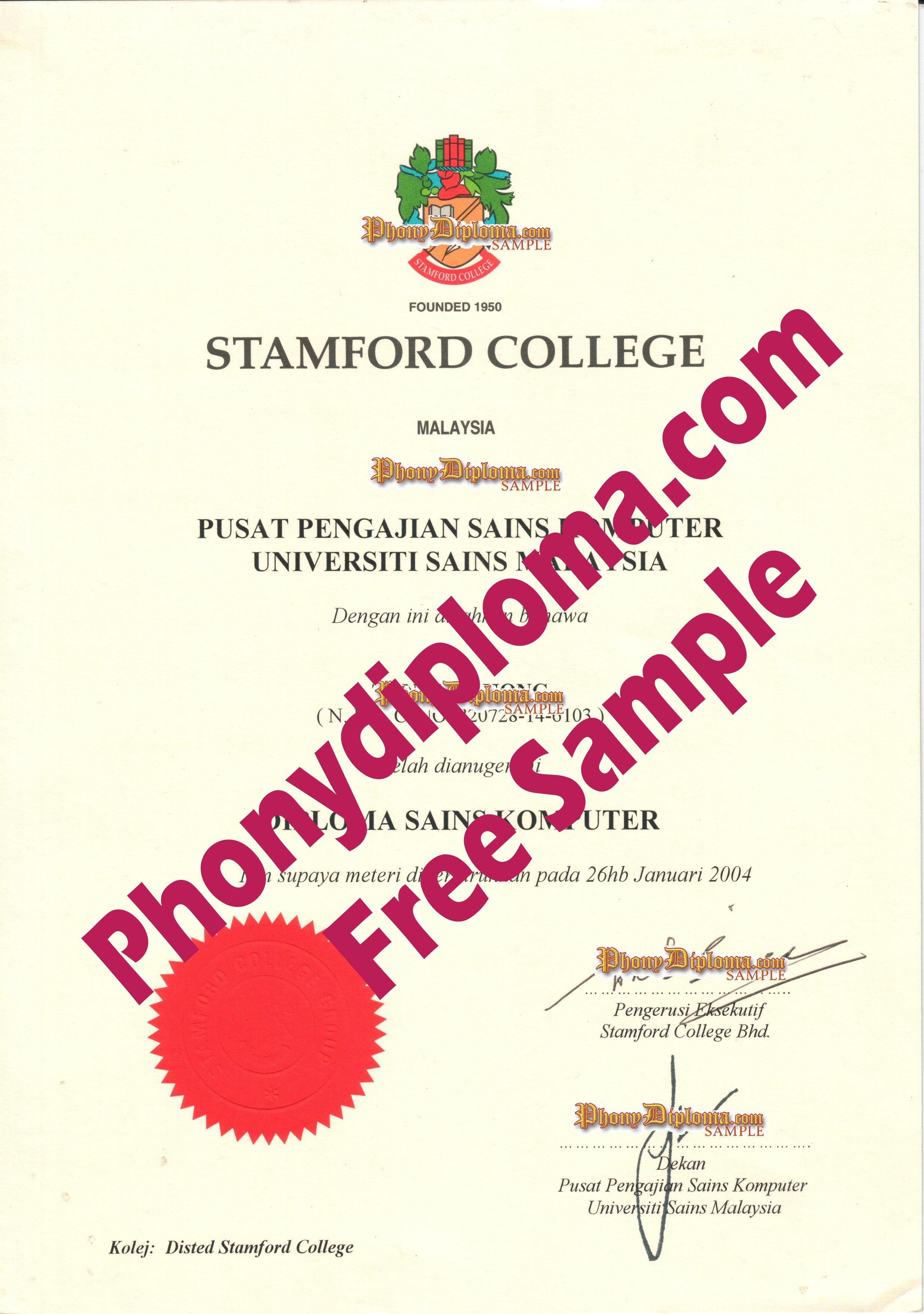 Stamford, Malay Free Sample From Phonydiploma