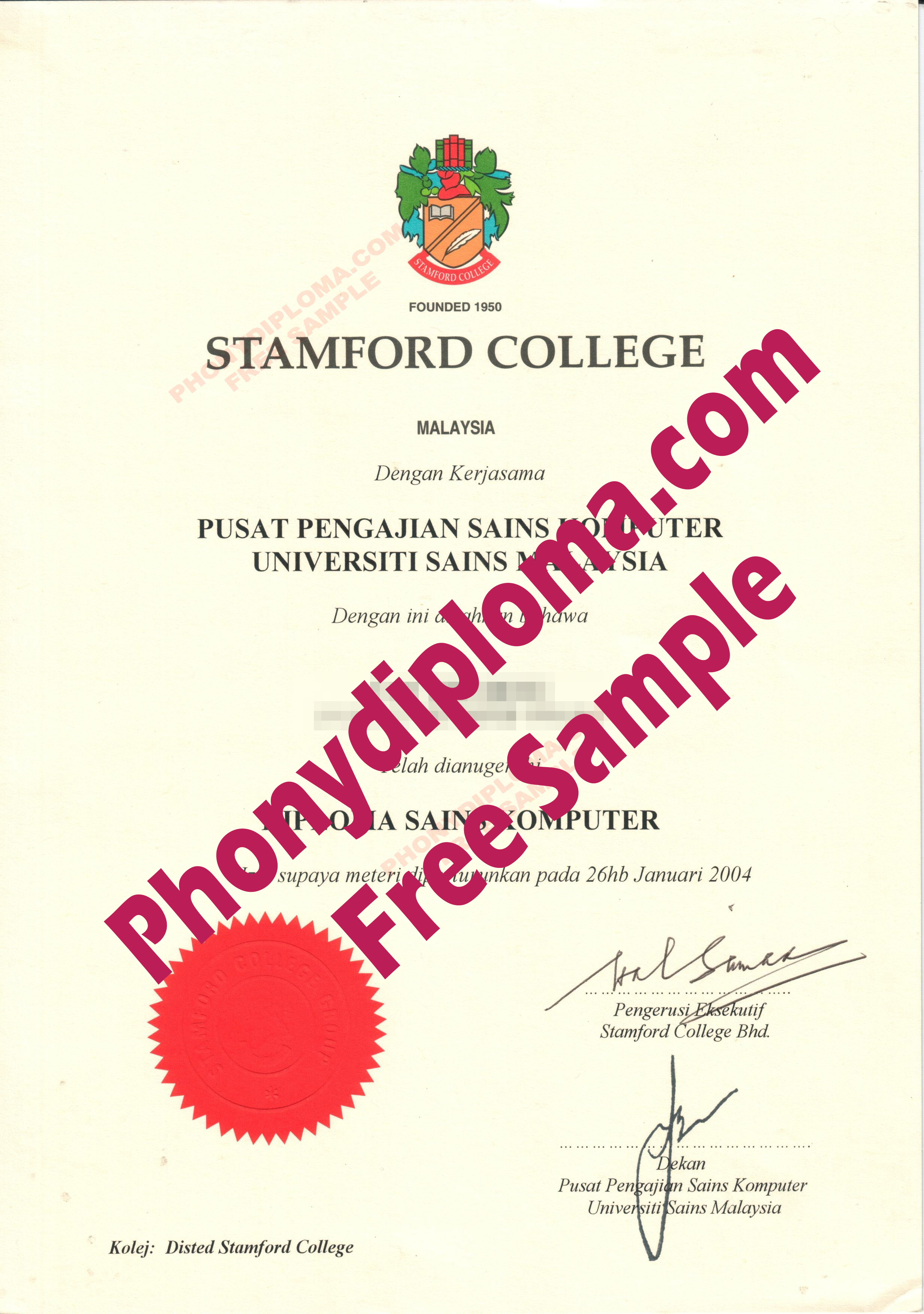 Stamford College Singapore Free Sample From Phonydiploma