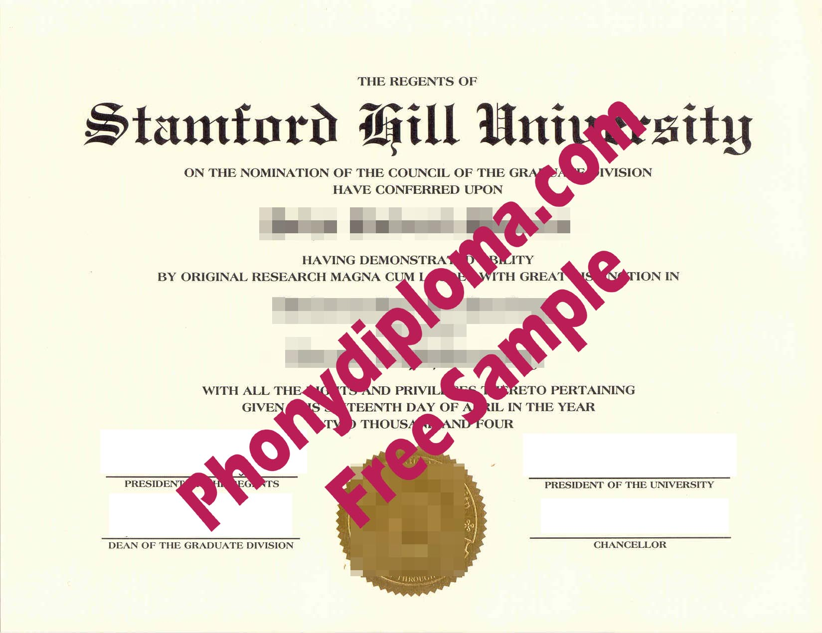 Stamford Hill University Free Sample From Phonydiploma
