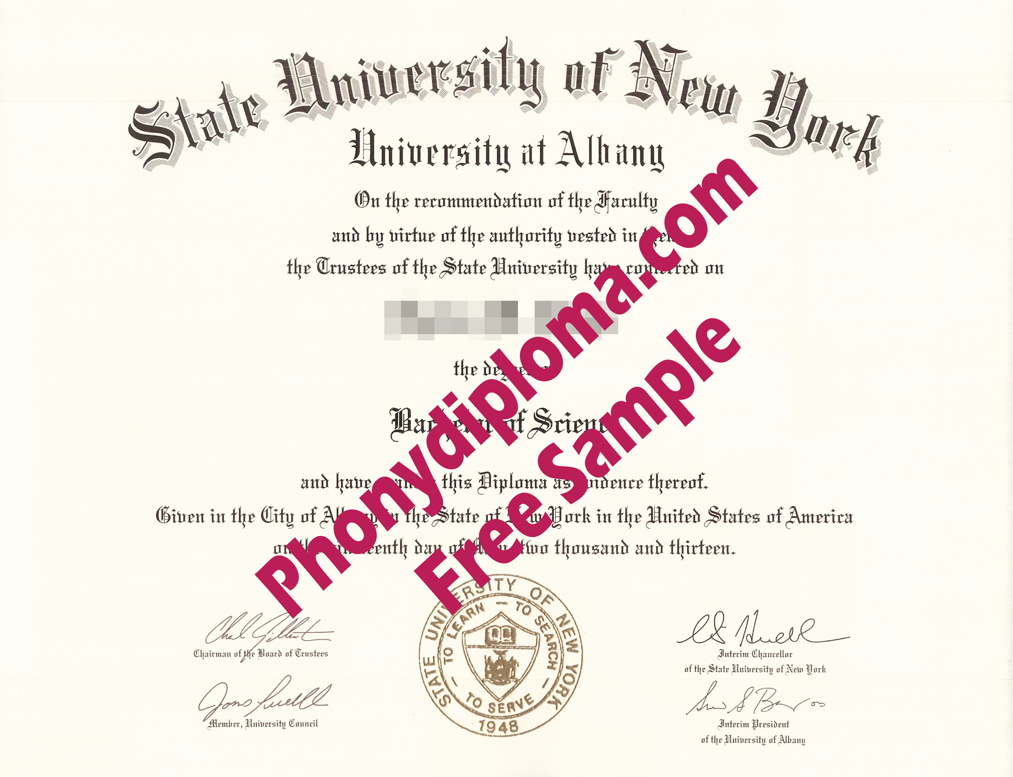 State University Of New York Albany Free Sample From Phonydiploma