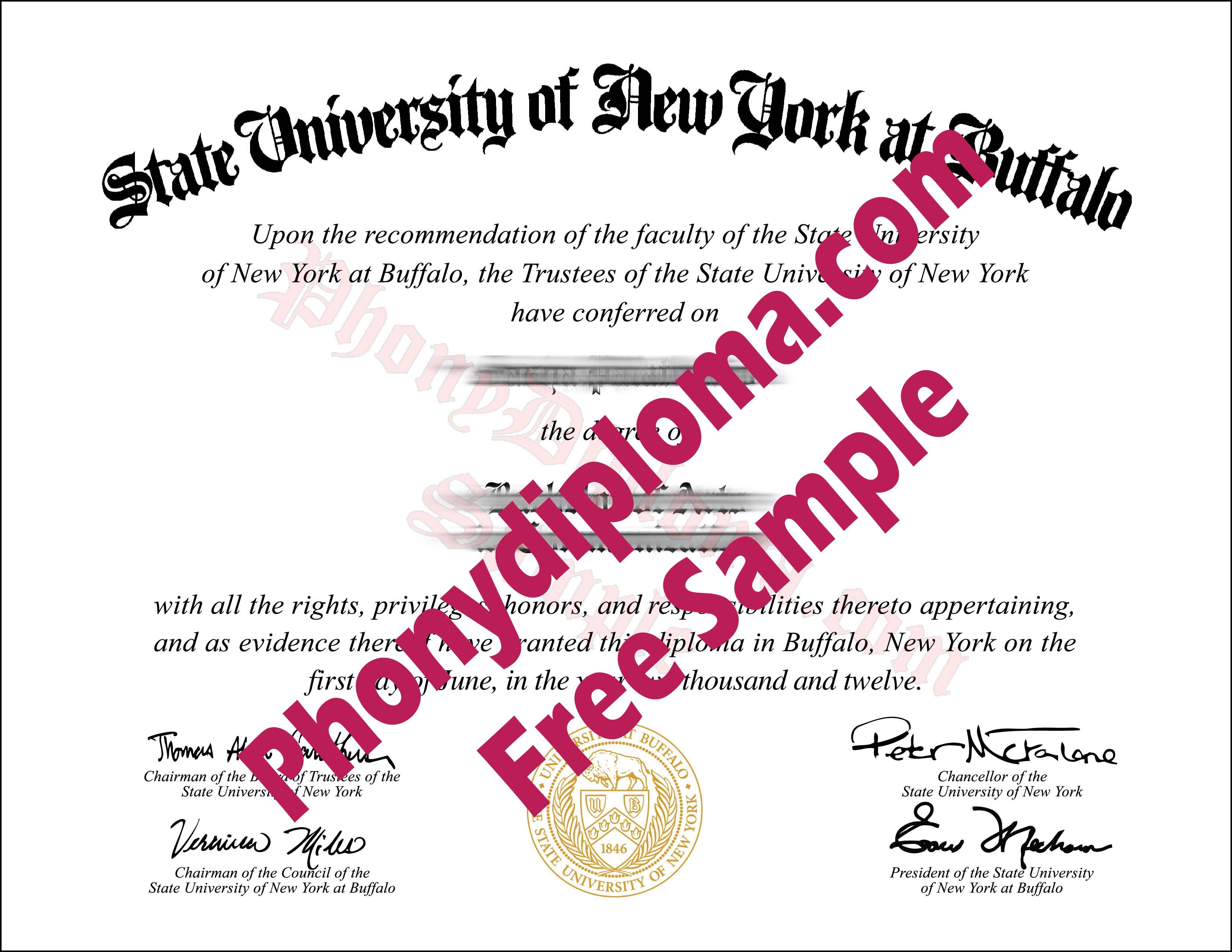 State University Of New York Buffalo Free Sample From Phonydiploma