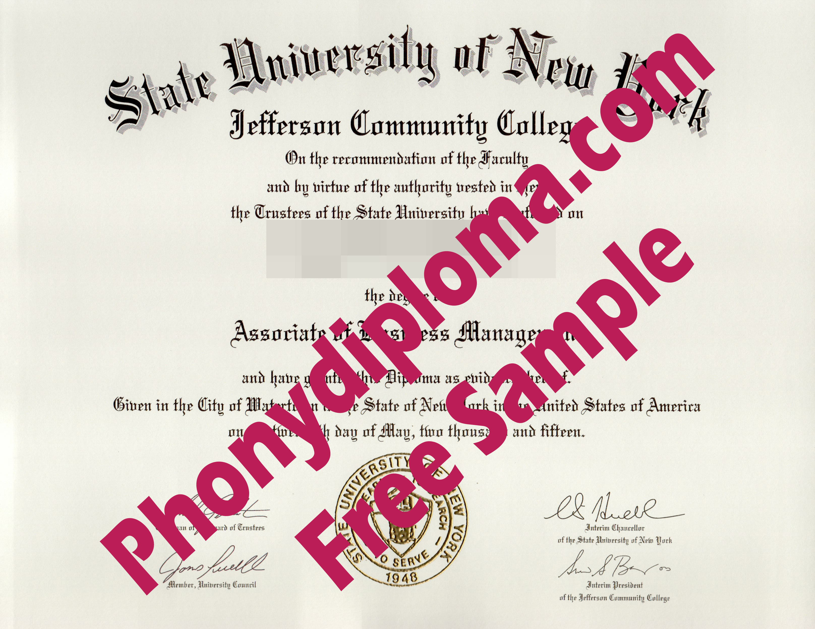 State University Of New York Suny Jefferson Community College Free Sample From Phonydiploma