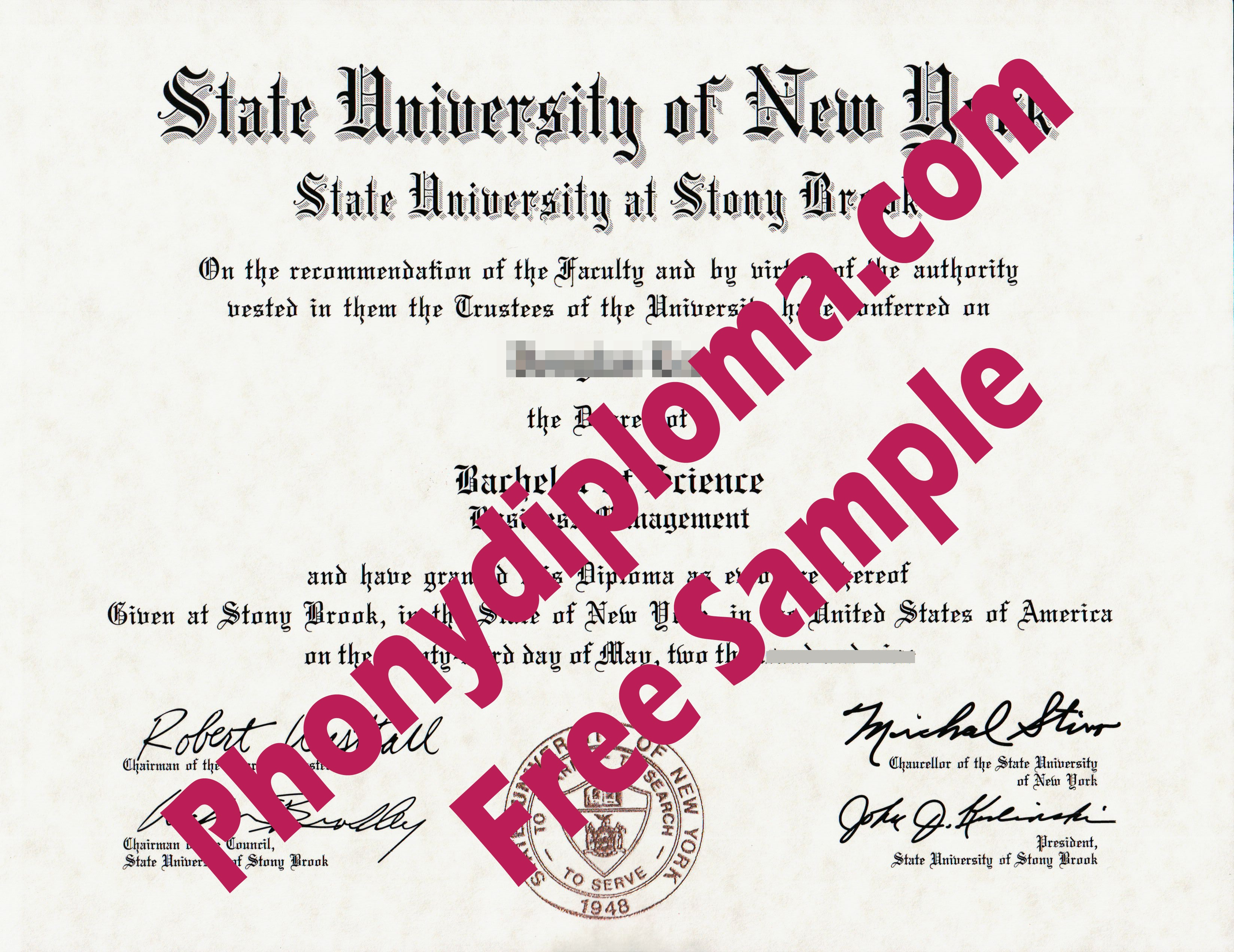 State University Of New York Stony Brook Free Sample From Phonydiploma