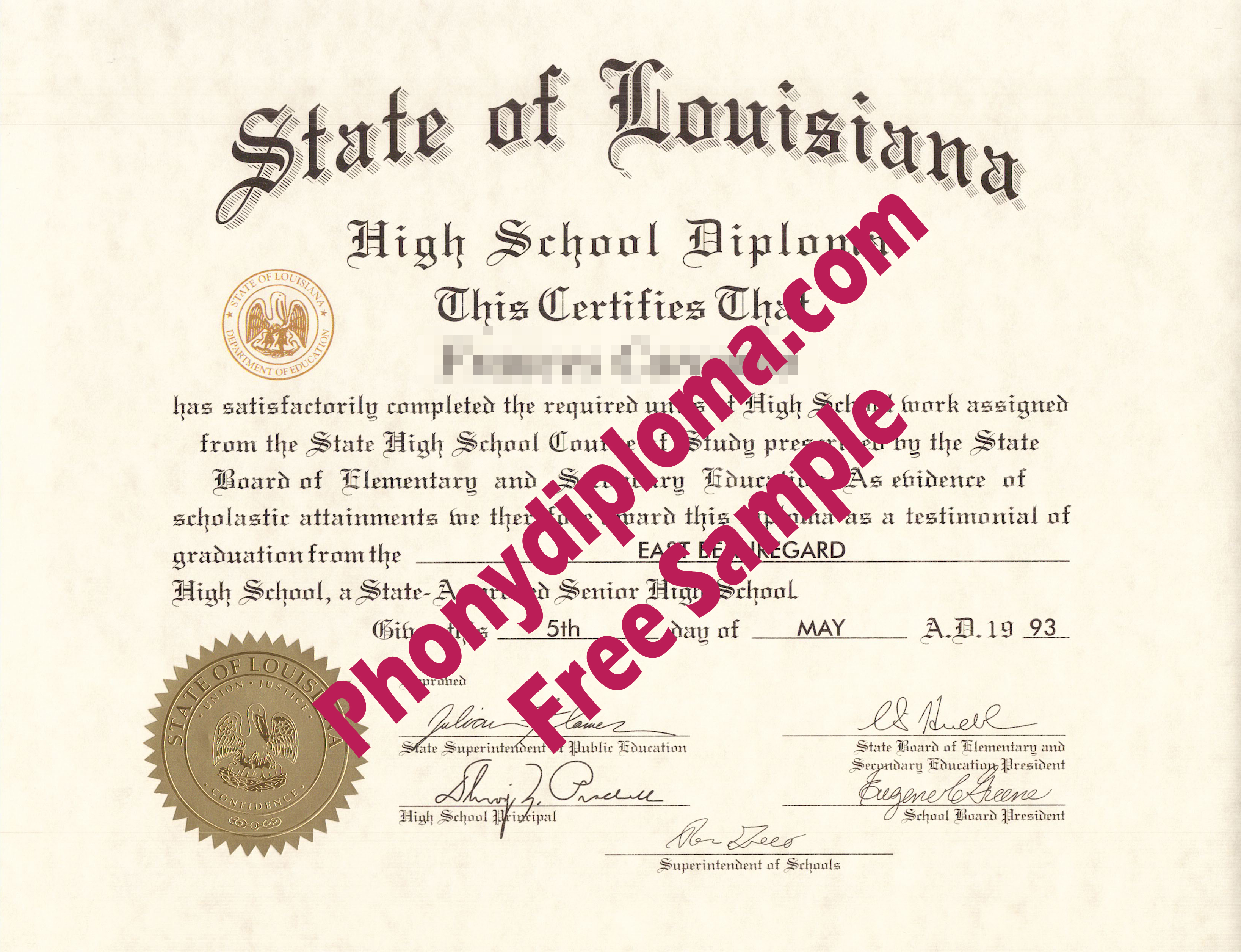 State Of Louisiana High School Diploma Free Sample From Phonydiploma