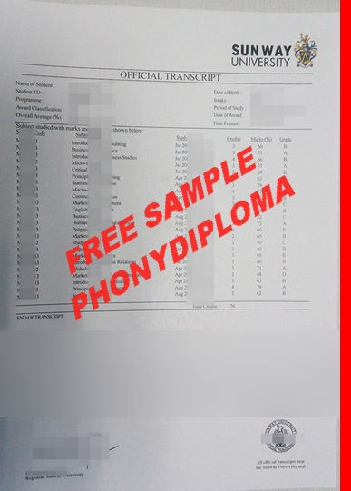 Sunway College Malaysis Actual Match Transcript Free Sample From Phonydiploma