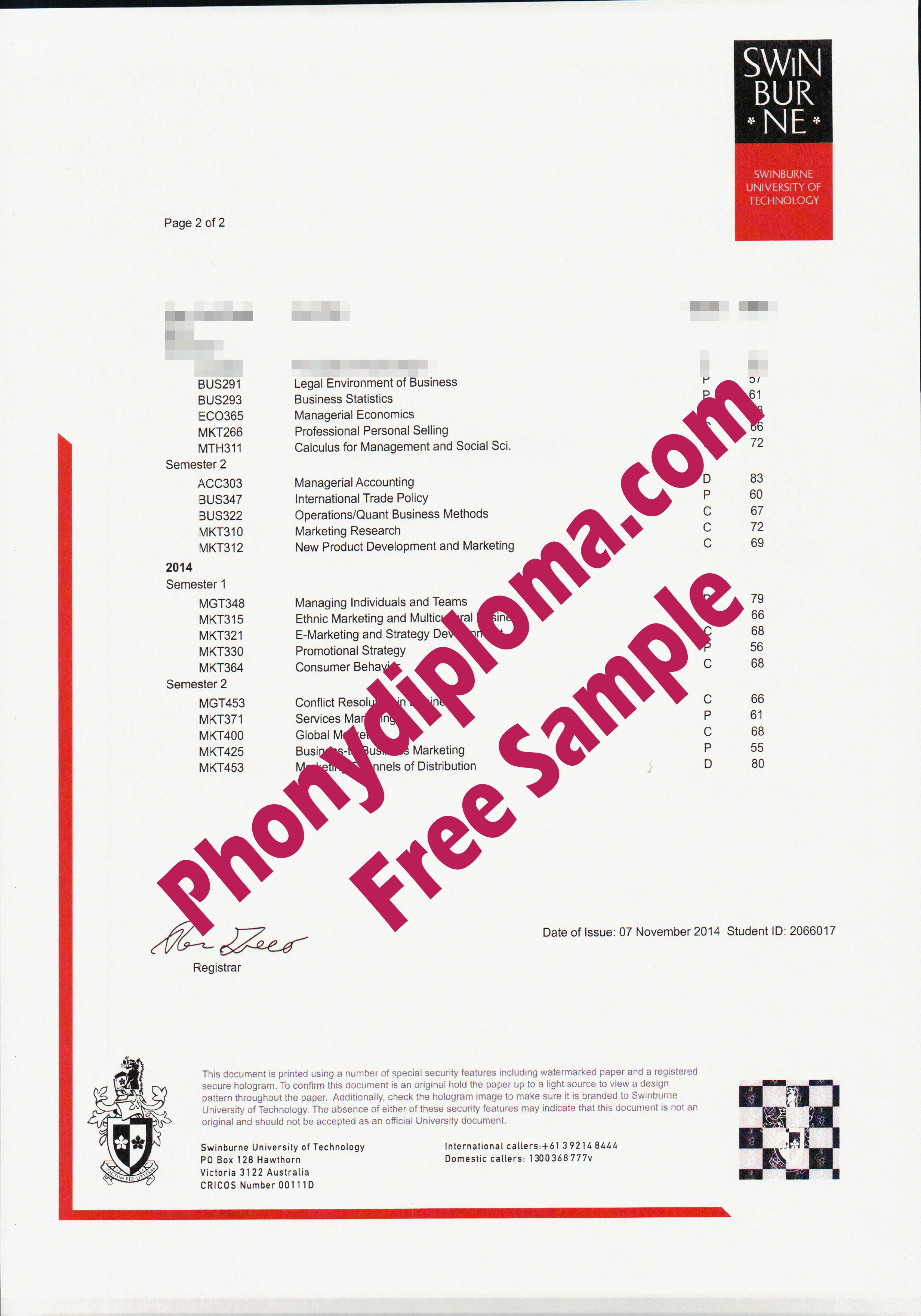 Swinburn University Actual Match Transcript Free Sample From Phonydiploma