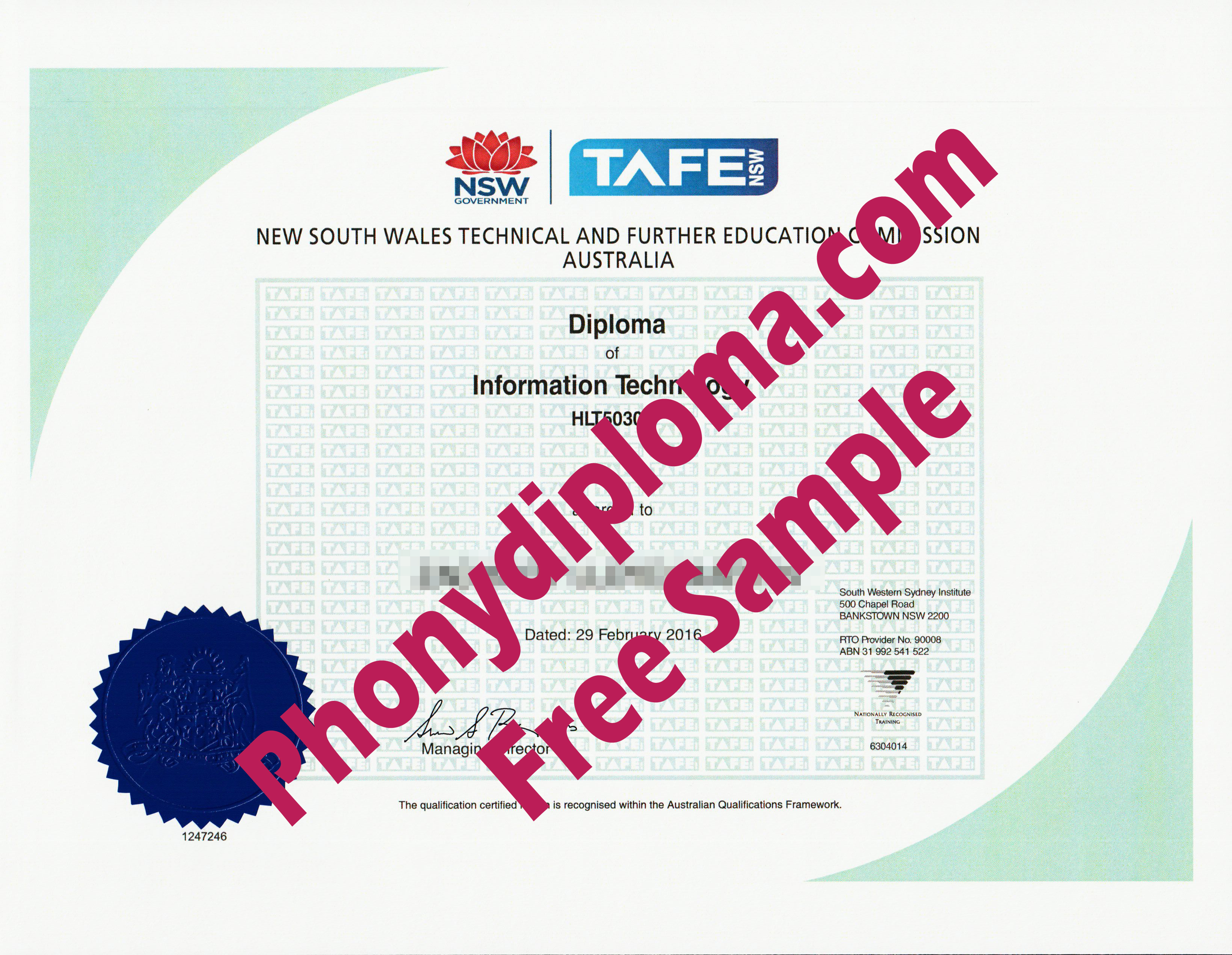 Tafe New South Wales Free Sample From Phonydiploma