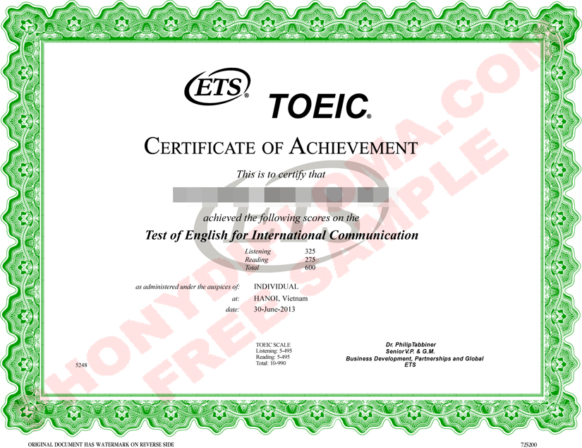 Toeic Diploma Free Sample From Phonydiploma