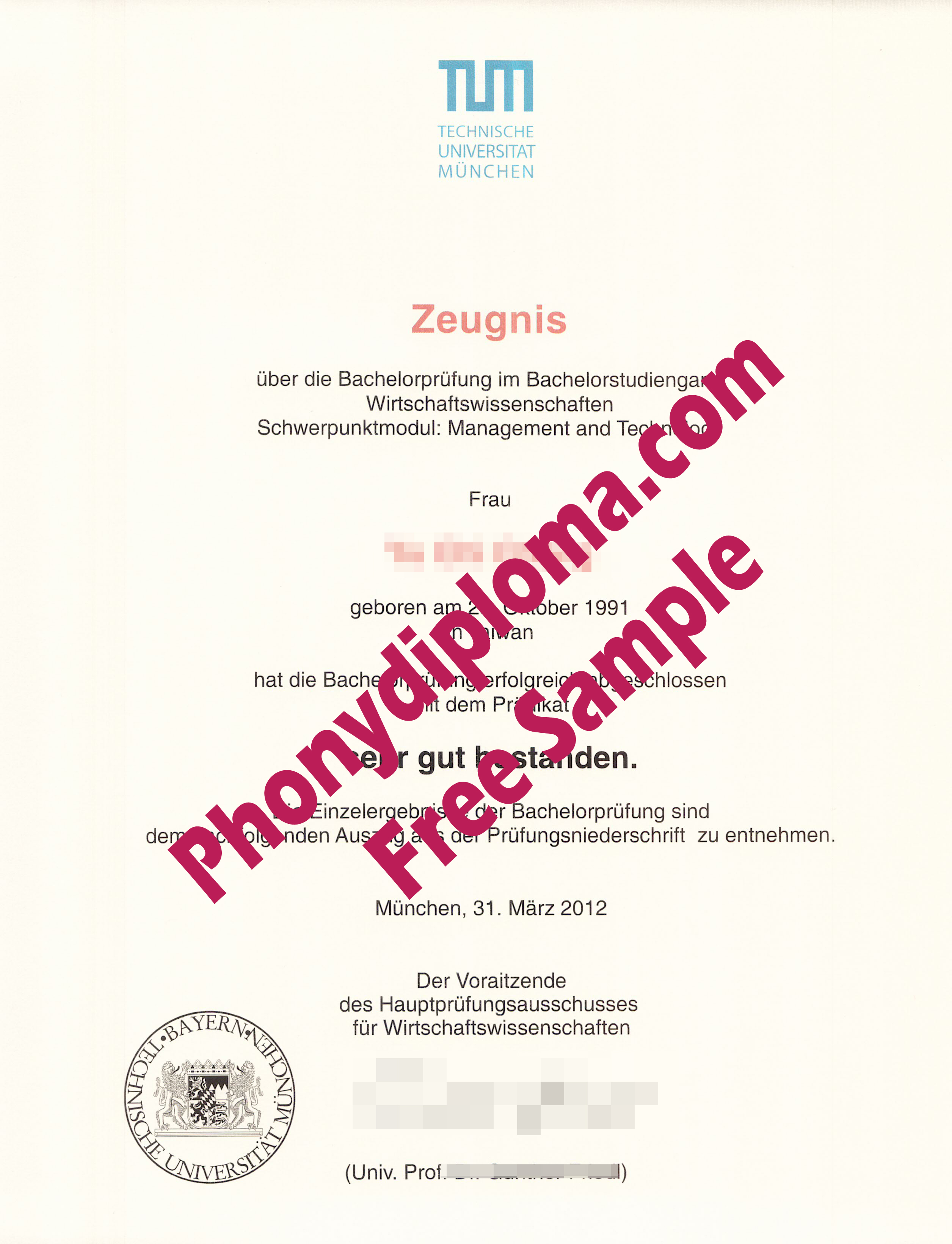 Tum Technische Universitat Munchen Germany Free Sample From Phonydiploma