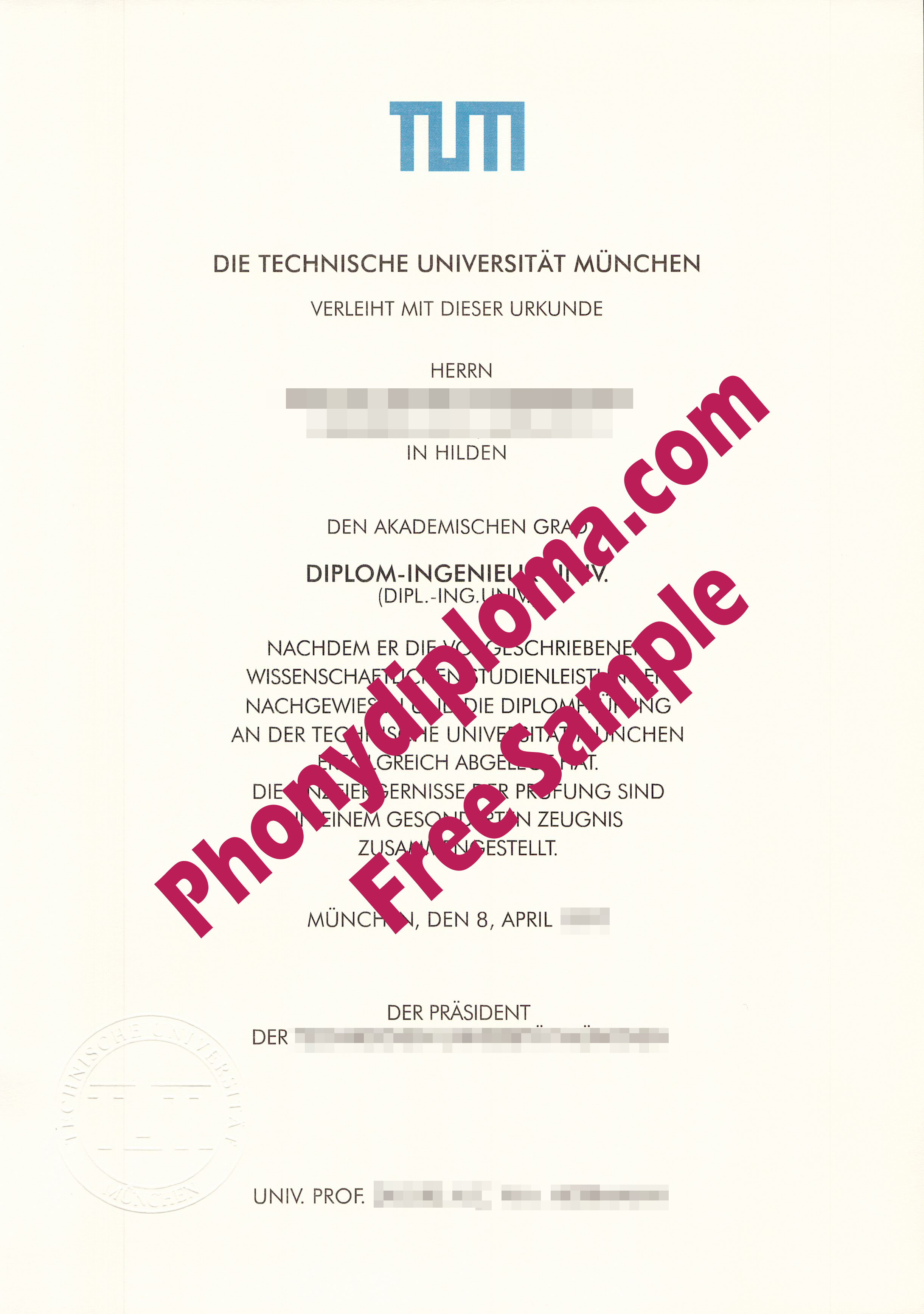Tum Universitat Munchen Germany Free Sample From Phonydiploma