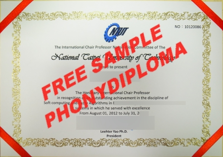 Taiwan National Taipei University Of Technology Free Sample From Phonydiploma