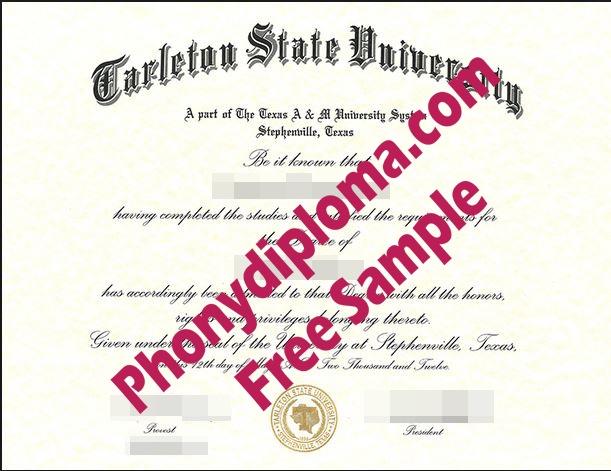 Tarleton State University Texas Free Sample From Phonydiploma