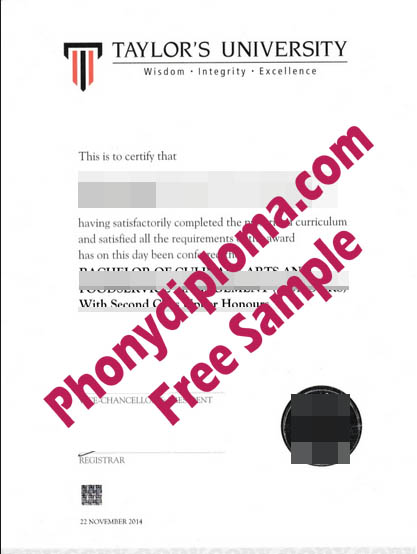 Taylor's University Free Sample From Phonydiploma