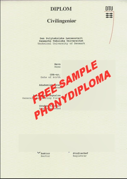 Technical University Of Denmark Diploma Free Sample From Phonydiploma