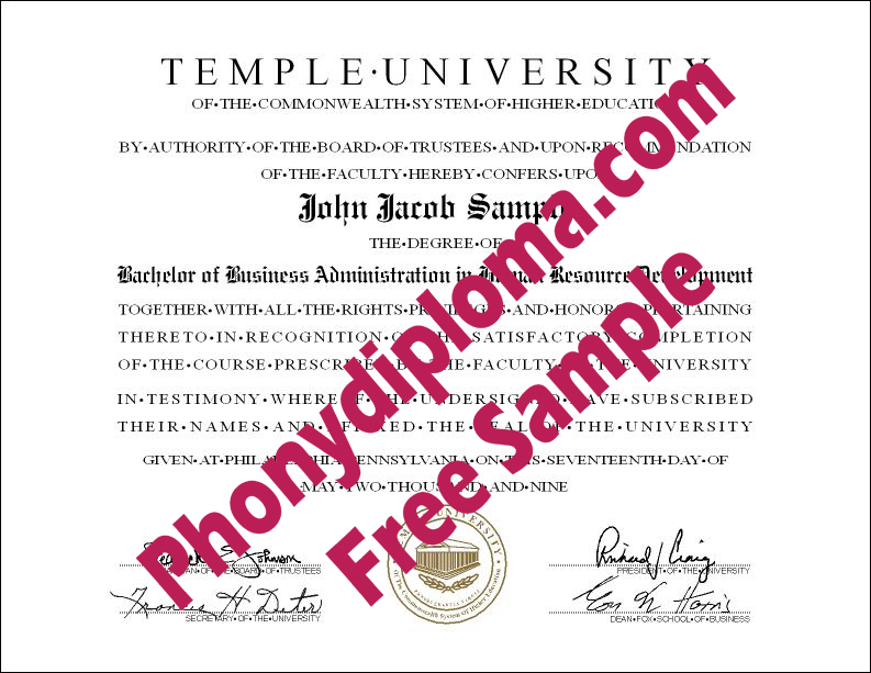 Temple University Free Sample From Phonydiploma