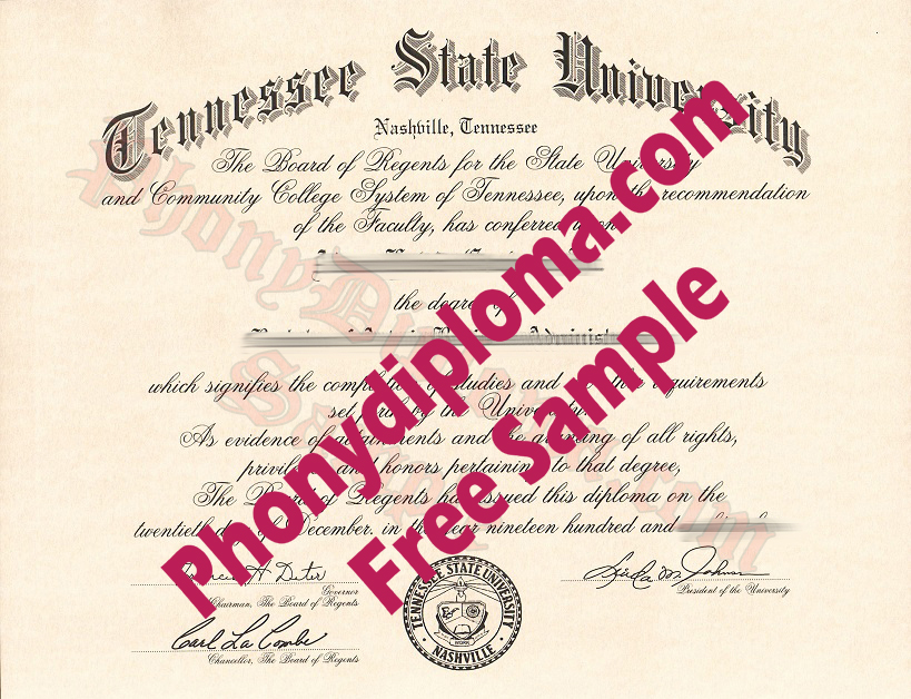 Tennessee State University Free Sample From Phonydiploma