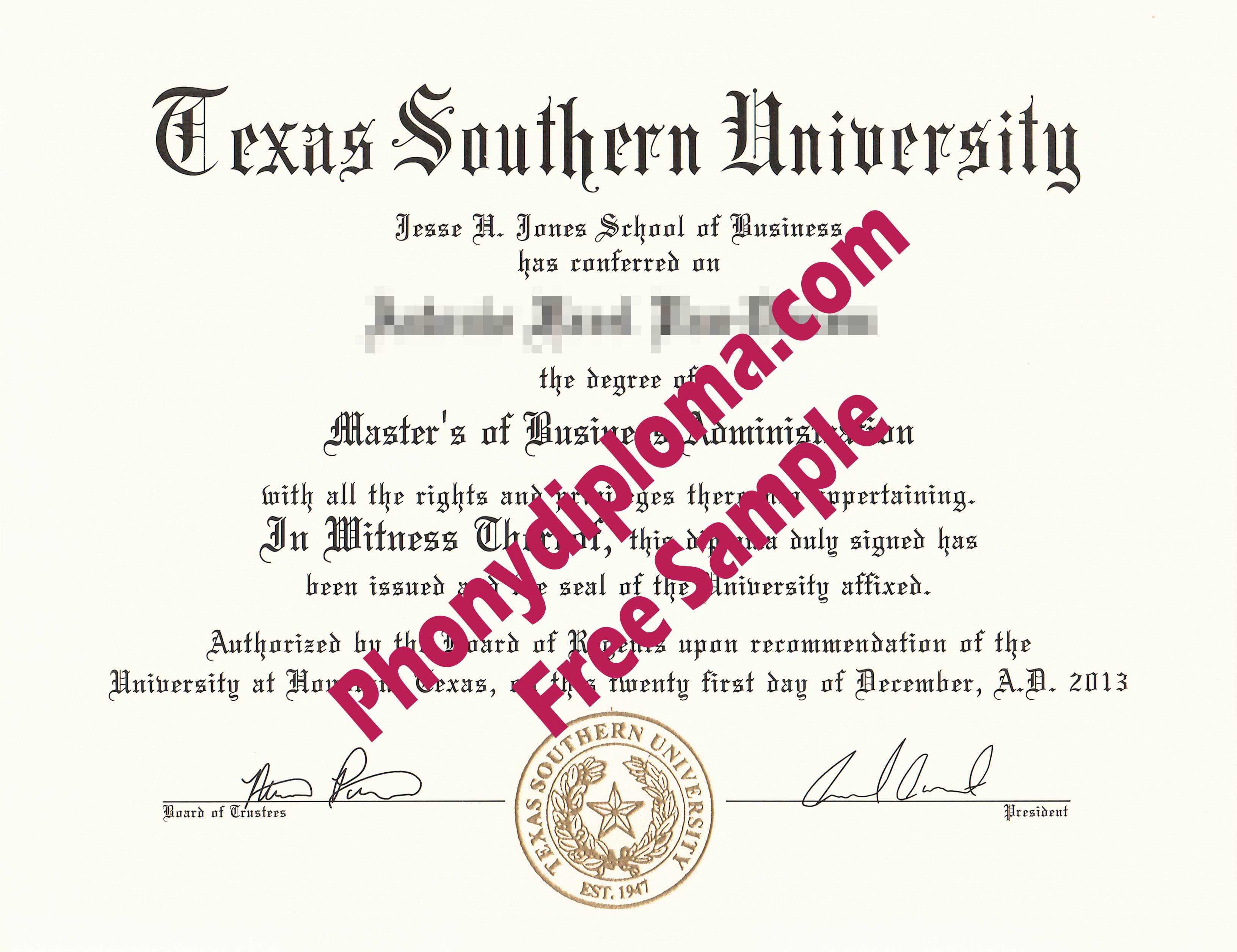 Texas Southern University Free Sample From Phonydiploma