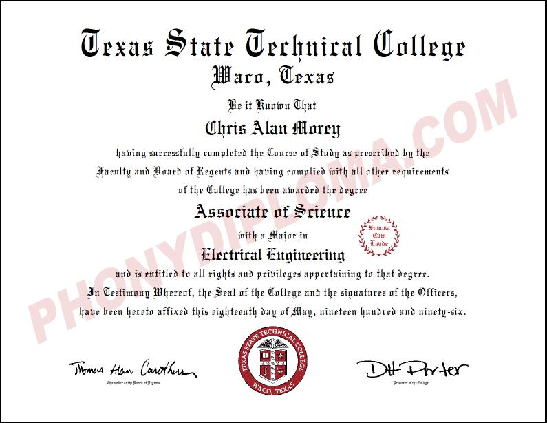 Texas State Technical College Free Sample From Phonydiploma