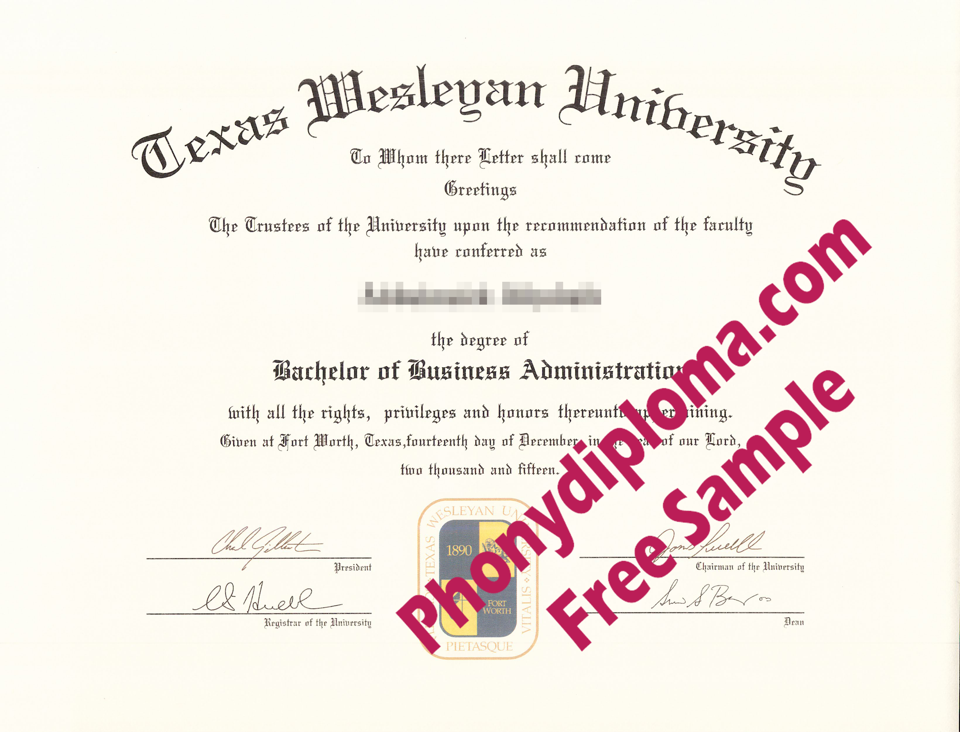 Texas Wesleyan University Free Sample From Phonydiploma