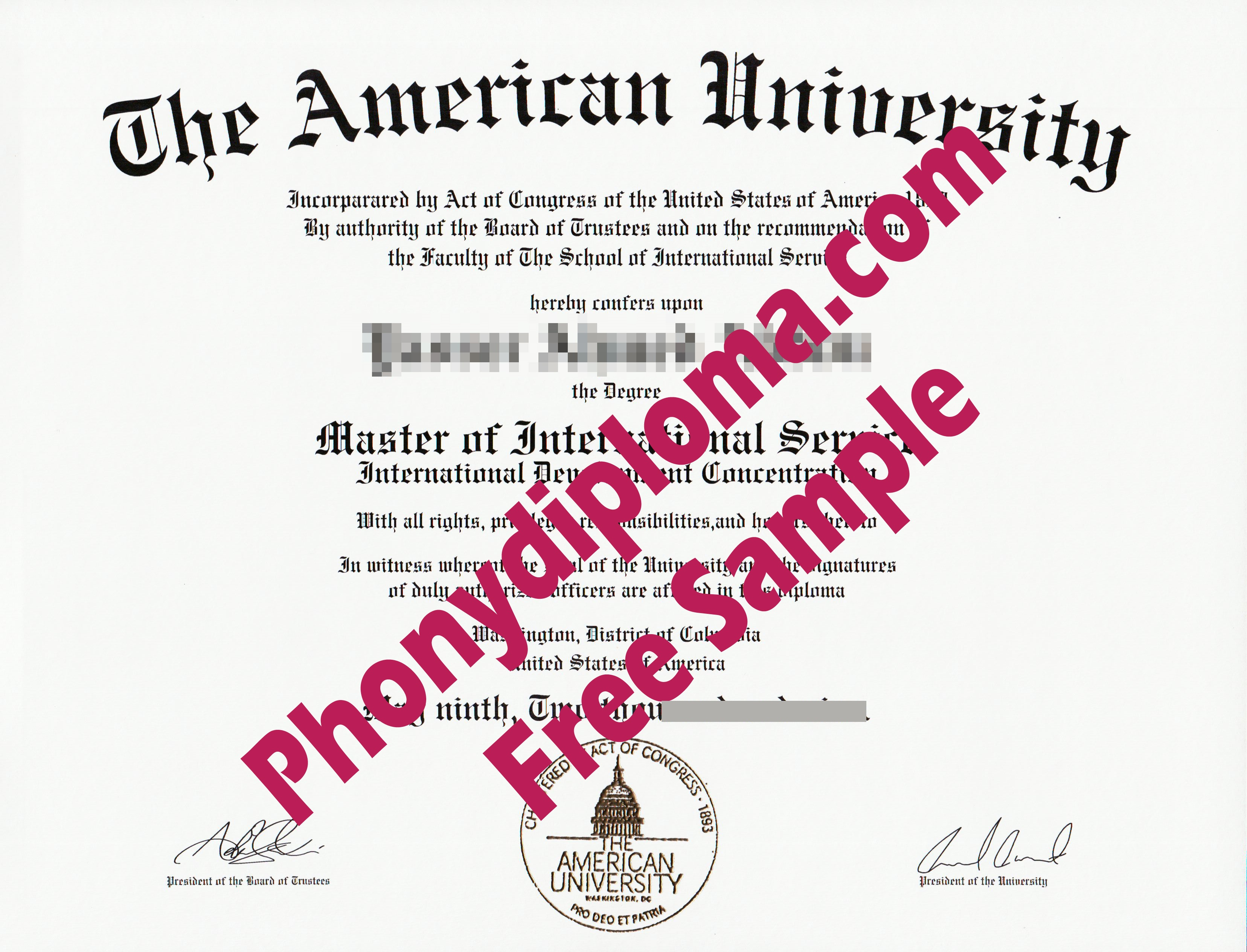 The American University Washington Free Sample From Phonydiploma