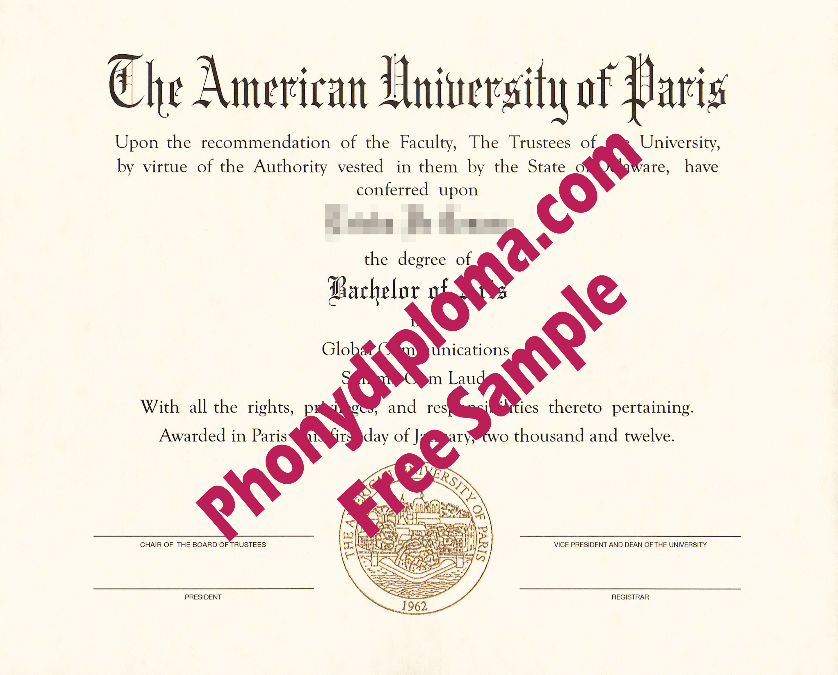 The American University Of Paris Free Sample From Phonydiploma