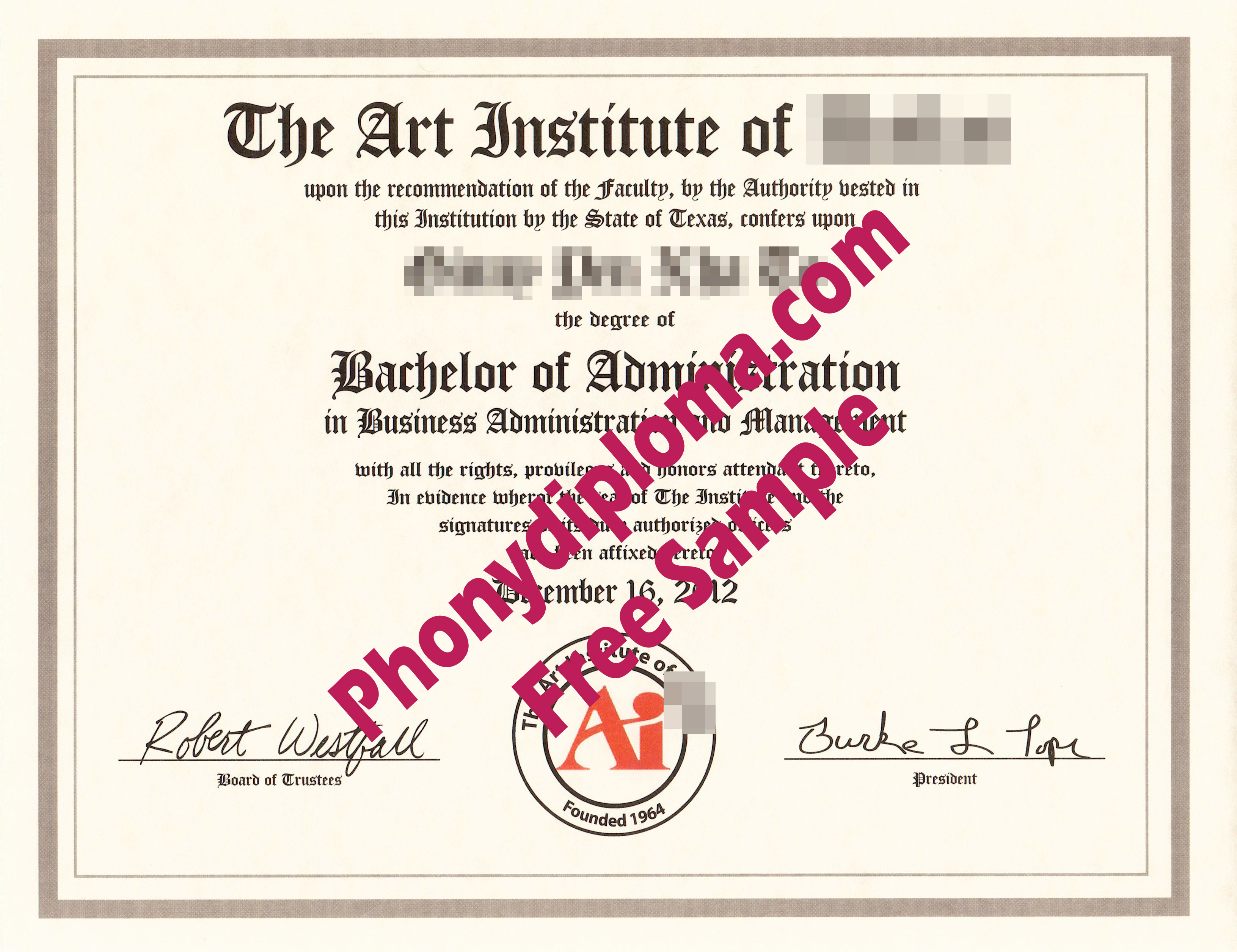 The Art Institute Of Any Campus Free Sample From Phonydiploma