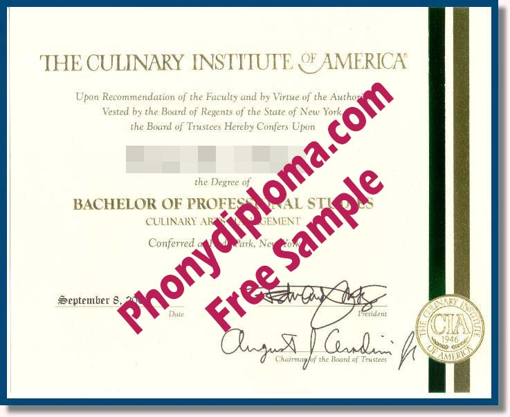The Culinary Institute Of America Free Sample From Phonydiploma