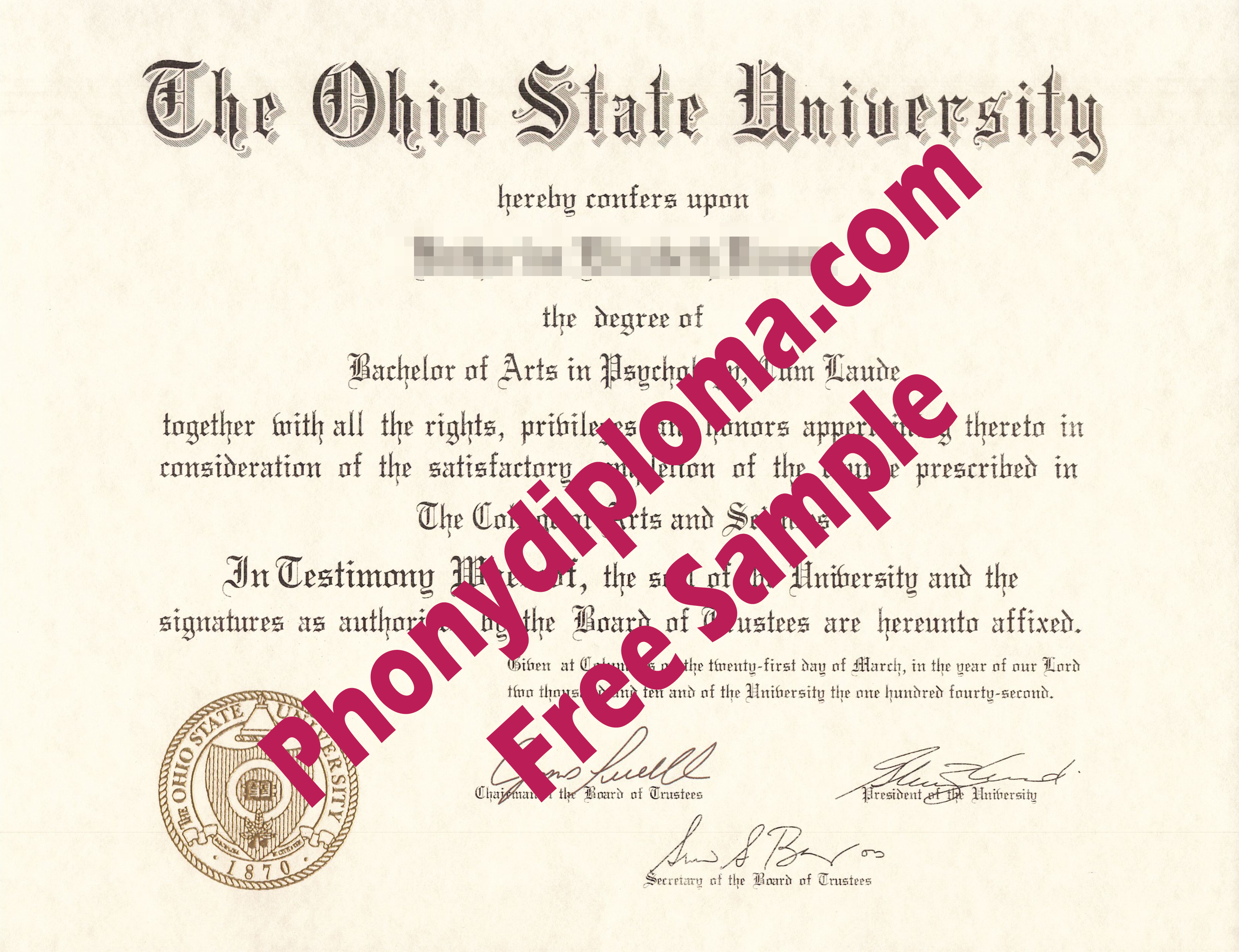 The Ohio State University Free Sample From Phonydiploma
