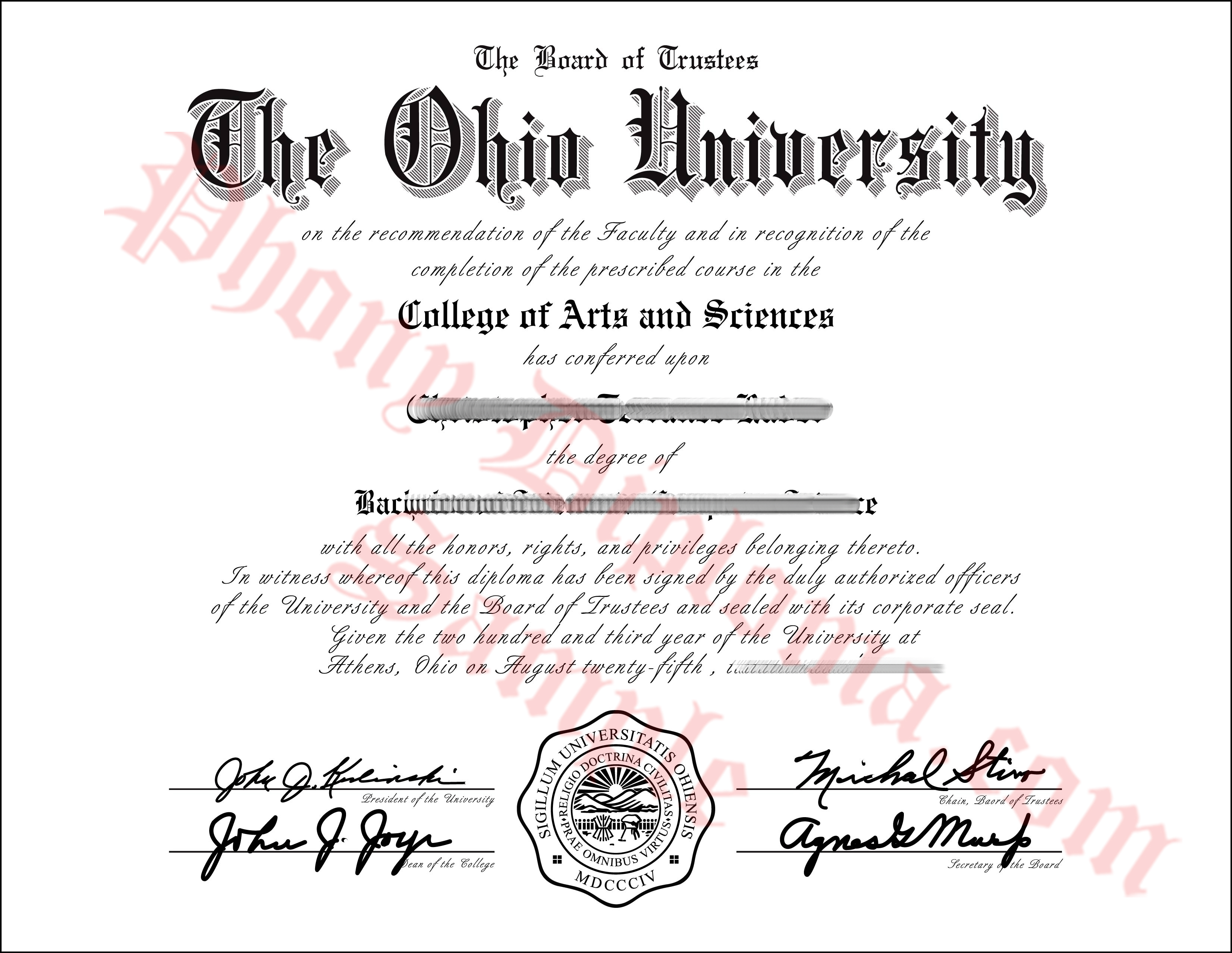 The Ohio University Free Sample From Phonydiploma