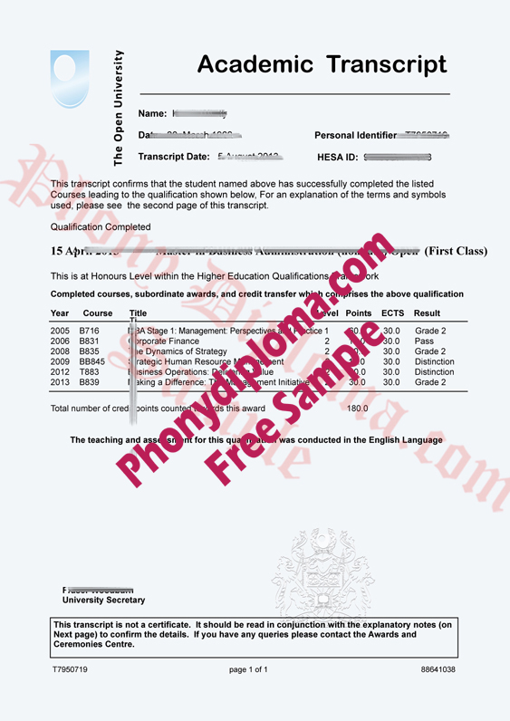 The Open University Actual Match Transcripts Free Sample From Phonydiploma