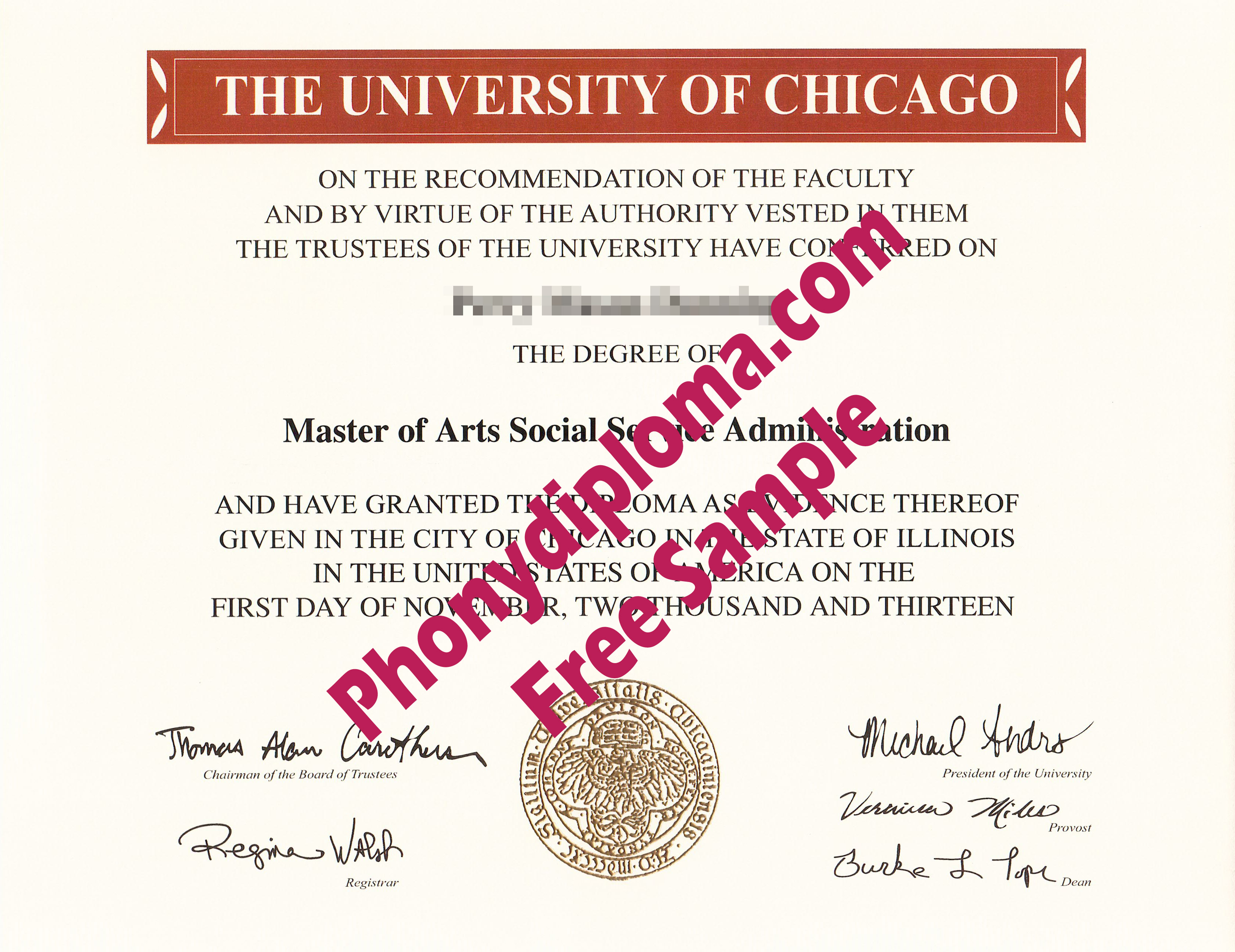The University Of Chicago Free Sample From Phonydiploma
