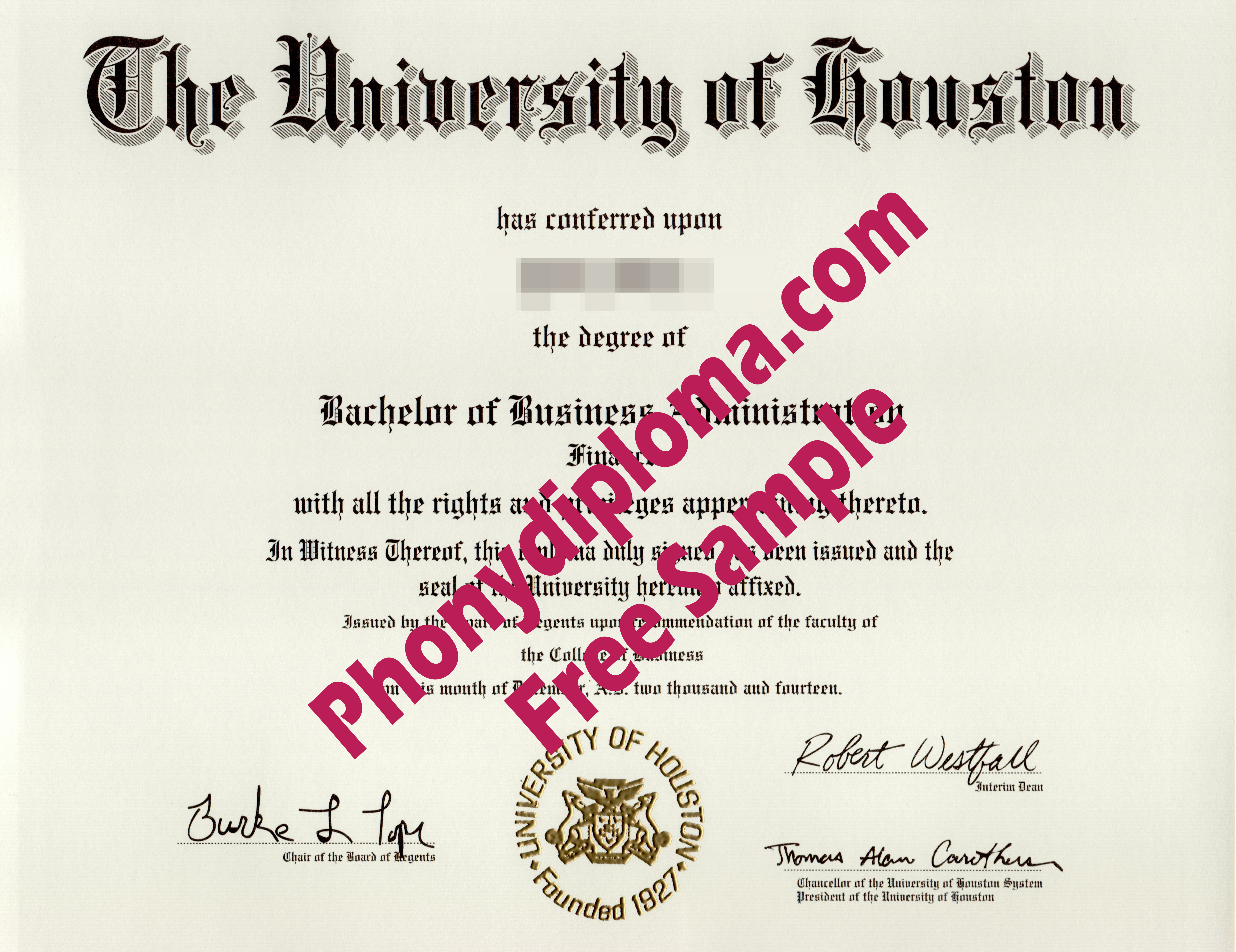 The University Of Houston Free Sample From Phonydiploma