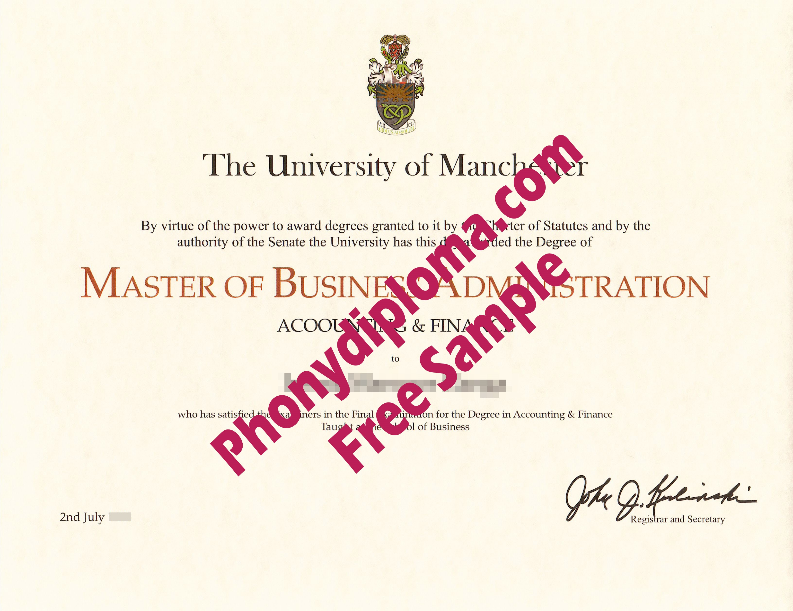 The University Of Manchester Free Sample From Phonydiploma